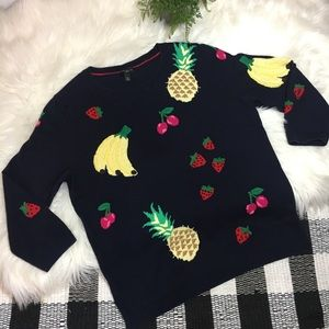 Talbots Sweaters - Talbots navy embroidered fruit crew neck sweater